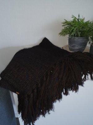 Gucci Szalik z frędzlami ciemnobrązowy-czarno-brązowy