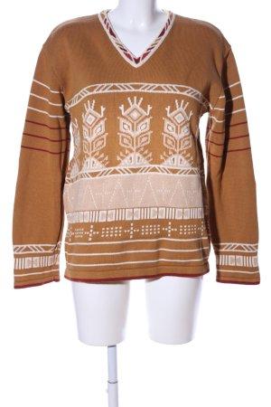Gudrun Sjöden V-Ausschnitt-Pullover braun-wollweiß grafisches Muster