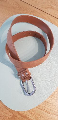 Faux Leather Belt silver-colored-light brown