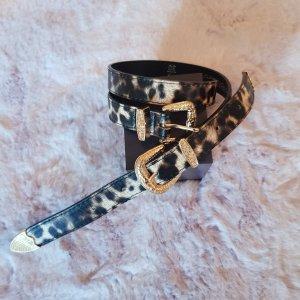 Even & Odd Cinturón de cuero de imitación negro-marrón arena