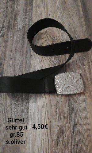 s.Oliver Leather Belt black