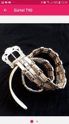 Cinturón de cuero de imitación gris-beige claro