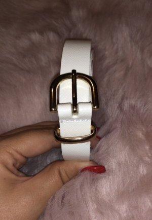 H&M Cintura di pelle bianco