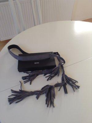 Boss Orange Leather Belt slate-gray leather