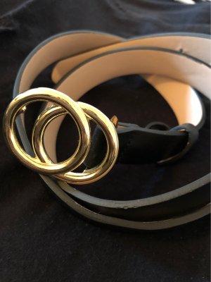 H&M Faux Leather Belt black-gold-colored