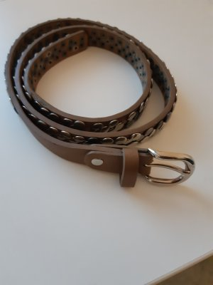Hallhuber Leather Belt taupe-grey brown leather