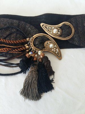 Pasek z materiału czarny Tkanina z mieszanych włókien