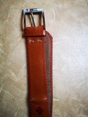Cinturón de cuero de imitación coñac