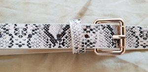 Cinturón de cuero negro-blanco puro