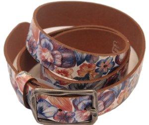 Gürtel aus echtem Leder mit Floralmuster