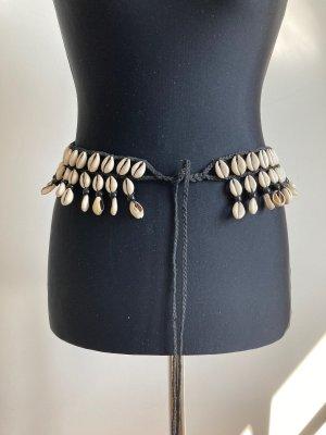 Cinturón de cadera beige claro-negro Cuero
