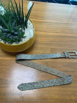 B Belt Cintura di pelle argento-color cammello Pelle