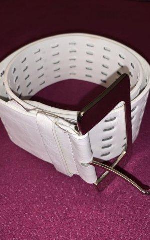 Cinturón de cuero de imitación blanco