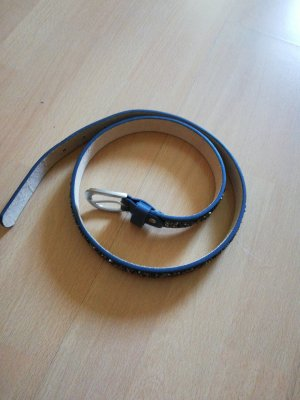 Cinturón de cuero de imitación azul acero