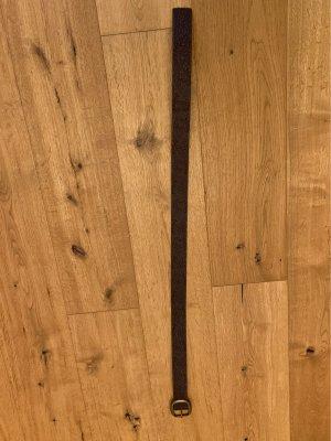 Cinturón de cuero de imitación marrón oscuro