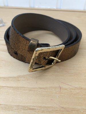 Gürtel braun-Gold-metallic