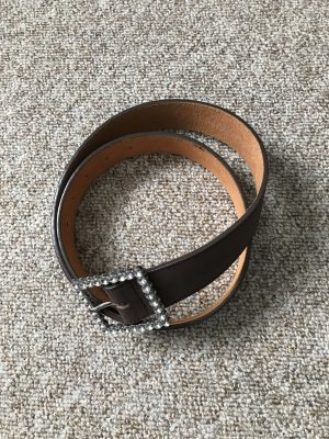 Faux Leather Belt brown-silver-colored
