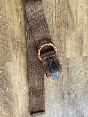 Zara Cinturón de tela ocre-gris verdoso