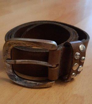 Petrol Industries Cinturón de cuero marrón grisáceo