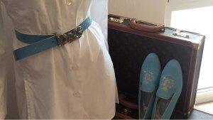 Dolce & Gabbana Cinturón de cuero azul claro Cuero