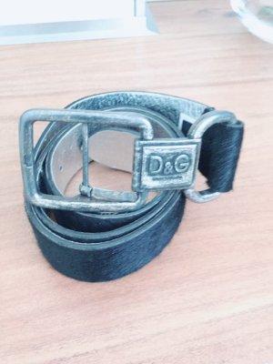 Dolce & Gabbana Ceinture en cuir noir-argenté