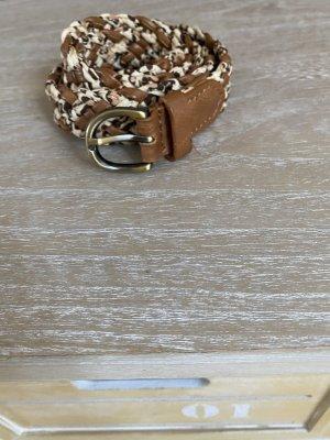 H&M Pleciony pasek brązowy-kremowy