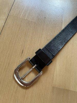 H&M Basic Cinturón de cuero de imitación negro-color plata