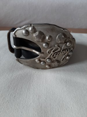 Replay Leather Belt black-silver-colored