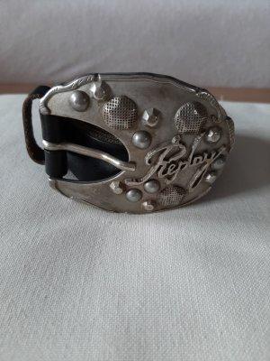 Replay Cinturón de cuero negro-color plata
