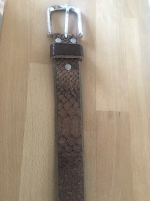 s.pa Leather Belt brown-silver-colored