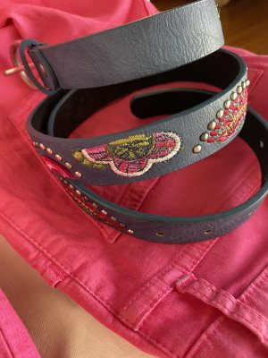 Faux Leather Belt blue-pink