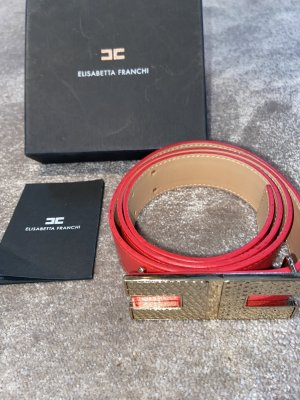 Elisabetta Franchi Leather Belt red-raspberry-red