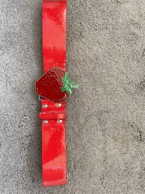 Cinturón de cuero de imitación rojo Cuero