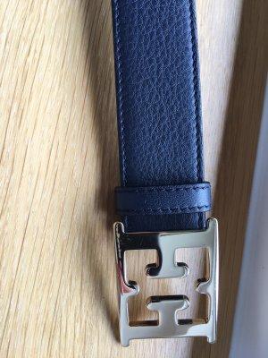 Escada Cinturón de cuero azul oscuro