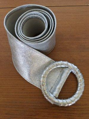 Cinturón de cuero de imitación color plata