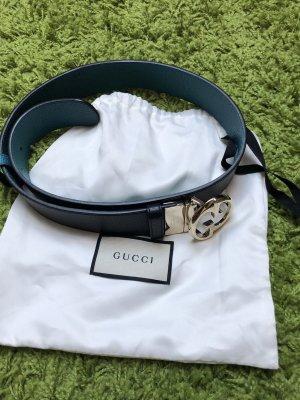 Gucci Cinturón de cuero negro-turquesa