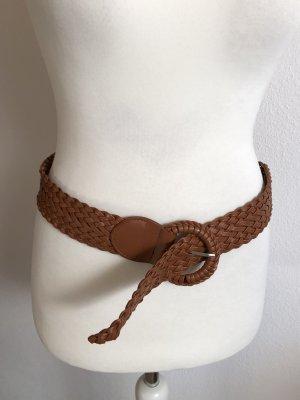 Cintura intrecciata marrone-cognac