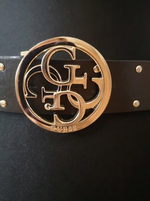 Guess Faux Leather Belt black-gold-colored