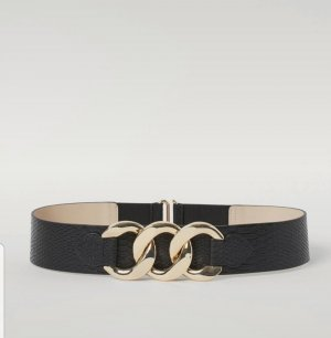 H&M Leather Belt black-gold-colored