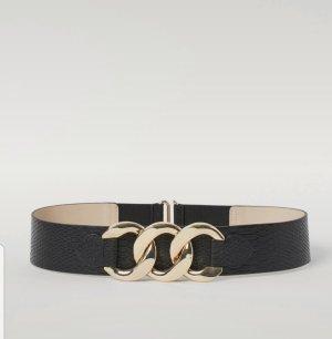 H&M Leather Belt black-gold-colored