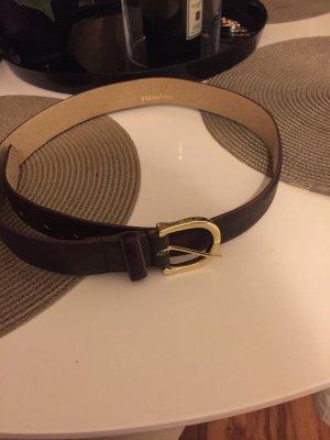 Hallhuber basic Cinturón de cuero burdeos-rojo amarronado