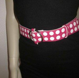 Gürtel Hüftgürtel Taillengürtel h m ONE SIZE Schnalle m Durchzug rund silber NEU Punkte Polka Dots pink weiß