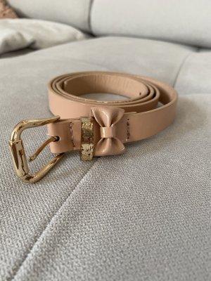 Cintura in ecopelle color carne-oro