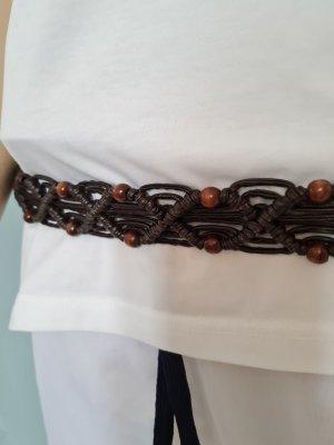 Ceinture tressée brun noir cuir