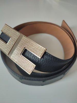 Elisabetta Franchi Leather Belt black-gold-colored