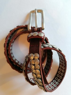 Liebeskind Leather Belt silver-colored-brown red