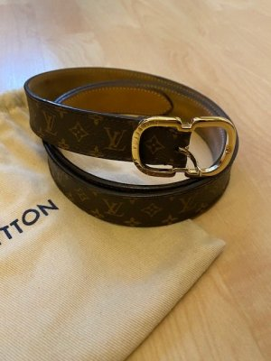 Louis Vuitton Leather Belt taupe-grey brown