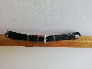 Zara Faux Leather Belt black-silver-colored