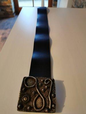 Gstar Lederen riem zwart-zilver