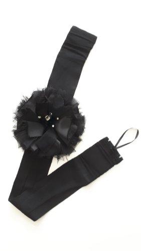 Cinturón de tela negro-color plata